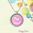 Personalized Pink Unicorn Bottle cap Necklace