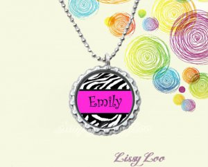 Hot Pink Zebra Banner Personalized Bottle cap Necklace