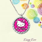 Personalized Polka dot Kitty Bottle cap Necklace