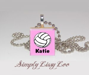 PERSONALIZED VOLLEYBALL  SCRABBLE TILE NECKLACE