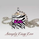 PERSONALIZED HOT PINK ZEBRA SCRABBLE TILE NECKLACE