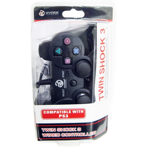 PS3 Wired Twin Shock 3 Controller for Sony Playstation 3 Black