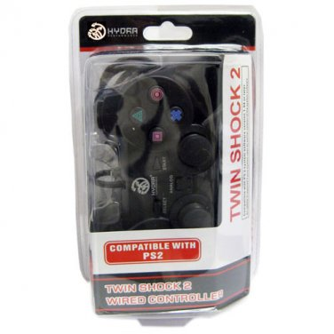 PS2 Wired Twin Shock 2 Controller for Sony Playstation 2 Black New