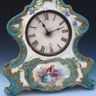 Old Antique French Ceramic Porcelain Sevres Mantle Clock w/ Handpainted Flowers