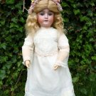 "Old Large 23"" Antique German Bisque Head Viola Doll In Stunning Antique Dress"