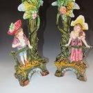 Old Antique Brothers Urbach Teplitz Bohemian Austrian Majolica Boy Girl Vase Pr