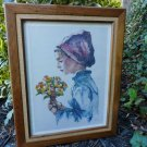 Vintage Hand Tinted Victorian Girl Etching Signed Listed Artist Philip Alfieri