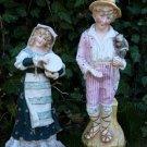 Antique Victorian German Bisque Porcelain Gebruder Heubach Figures Of Man & Lady