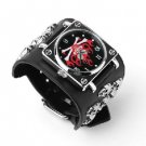 Punk Gothic Ladies Women Men Gens' Genuine Leather Wrist Watch