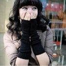 Winter arm sleeve / fingerless gloves / knitted wool cuff - black