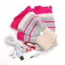 Forever USB warm gloves wool dual-use half the heated gloves red rose