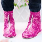 Short printing zipper type waterproof rainproof shoe cover M random color