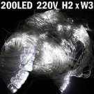 2x3m 200-LED 8-mode Net String Light Festival Lamp for Christmas Halloween-White