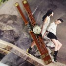 Vintage Skull Rivert Womens Genuine Leather Band Cuff Hemp Bracelet Bangle Wrist Watch Brown