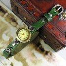 Vintage Silver Rose Studded Ladies Watch Leather Strap Quarz Watch Bracelet green