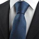 New Checked Navy Blue JACQUARD WOVEN Men's Tie Necktie