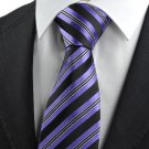 New Striped Purple White Black JACQUARD WOVEN Men's Tie Necktie