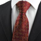 New Colorful Paisley Red Scarlet Burgundy JACQUARD WOVEN Men's Tie Necktie