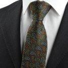 New Colorful Paisley Black JACQUARD WOVEN Men's Tie Necktie