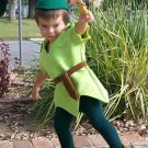 Custom Made Peter Pan Green boy child costume sizes available 1, 2,3,4,5,6,7