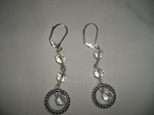 Silver and Crystal Bead  Dangling Earrings