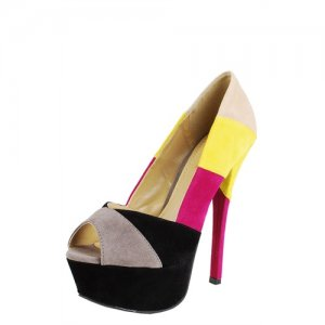 Amy Colorblock PeepToe Pump (SIZE 6)