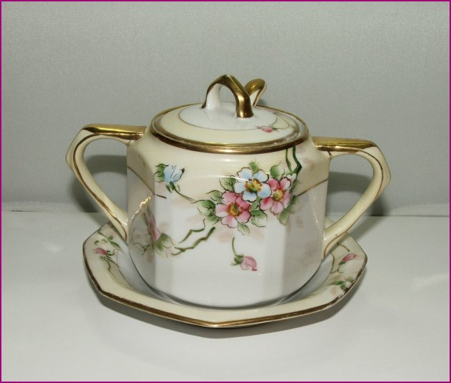 """SOLD"" 3 Piece Hand Painted Mustard/Sugar Bowl Set Nippon"