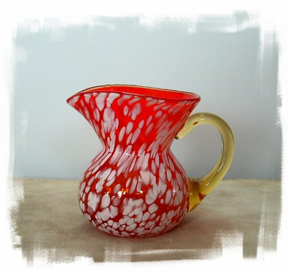 """SOLD""Beautiful Orange Spatter Glass Pitcher"