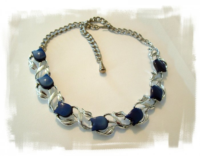 Vintage Blue Tulip Choker and Earrings Signed Star