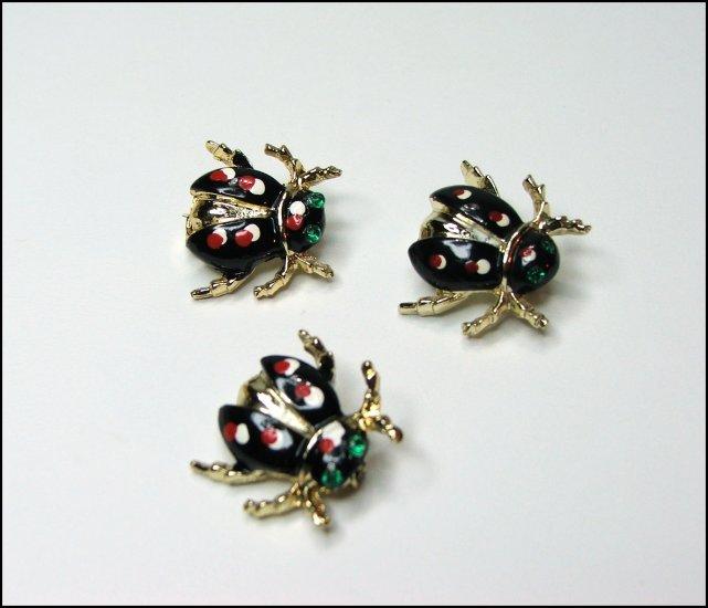 Vintage Rhinestone Ladybug Scatter Pins