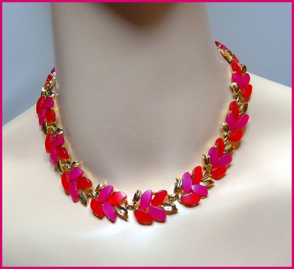 Vintage Hot Pink Choker Signed Claudette