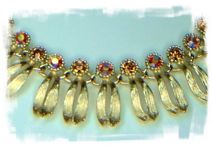 Gorgeous Egyptian Revival Rhinestone Choker Signed Lisner