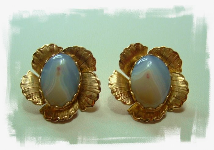 Vintage Agate Clip Earrings
