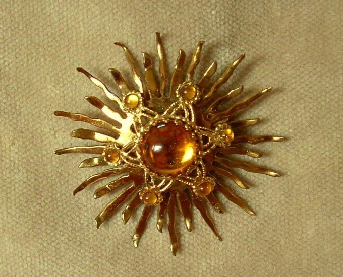 Art Deco Cabochon Sun Brooch