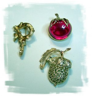 Red Apple Pin, Golden Color Acorn Pin, Initial PIn Sar. Cov.