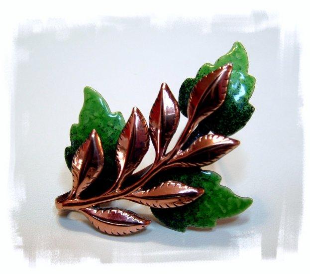 *SOLD* Vintage Green Enameled Copper Leaf Brooch Signed Matisse Renoir