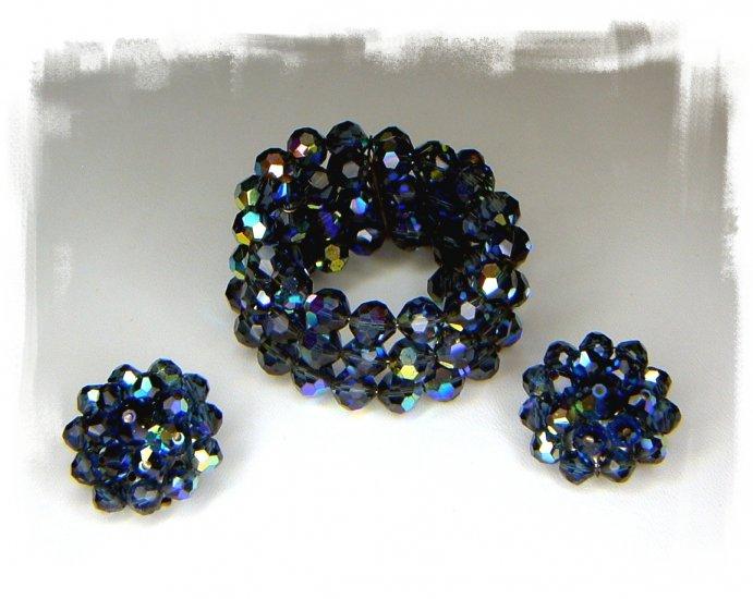 Vintage Blue Crystal Bead Wrap Bracelet and Earrings Signed Laguna