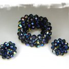Vintage Blue Crystal Bead Wrap Bracelet and Earrings Signed Laguna