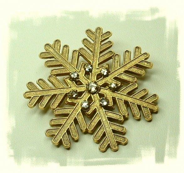 Snowflake Rhinestone Pin Signed Miriam Haskell