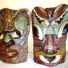 "2 - African Wooden Masks - 13"" - Hand Carved & Painted Wood - Bulging Eyes"