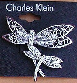 Sparkling DRAGONFLY Pin with Two Dragonflies