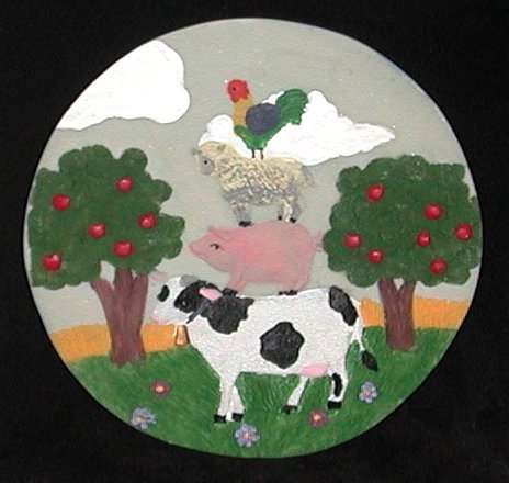 Cow Pig Sheep Rooster Mini Plate or Plaque