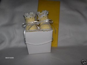 Hand Crocheted Yellow Baby Booties and Gift Box