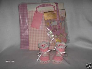 Hand Crocheted Pink Baby Booties with Gift Bag