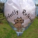 Purrfectly Relaxed Cat Hand Painted Wine Glass