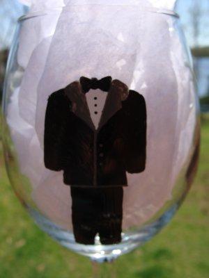 Groom Wedding Tux Black Hand Painted Wine Glass