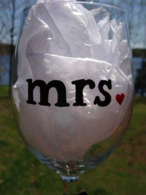 Mrs. Bride Wedding Hand Painted Wine Glass