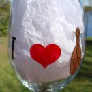 I Love Dulcimers Heart Hand Painted Wine Glass