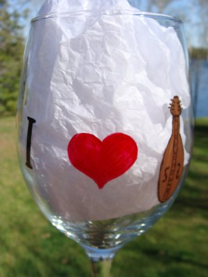 I Love Dulcimers Heart Hand Painted Wine Glass