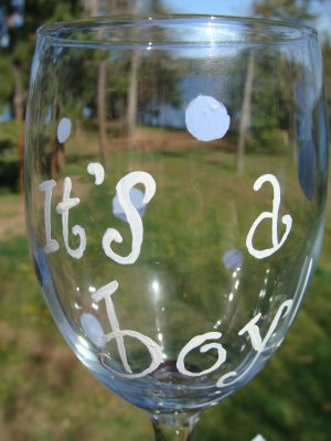 It's A Boy Baby Hand Painted Wine Glass